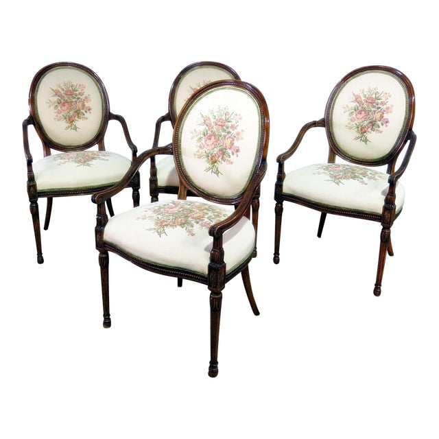 Set of 4 Adams Style Arm Chairs For Sale