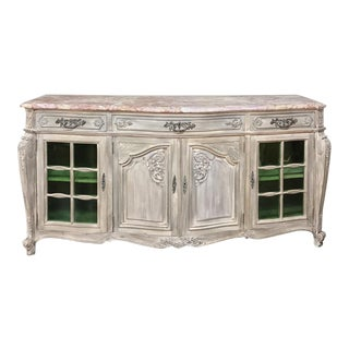 19th Century French Louis XIV Marble Top Stripped Display Buffet For Sale