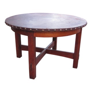 1900s Mission L&jG Stickley Round Leather Top Center Table For Sale