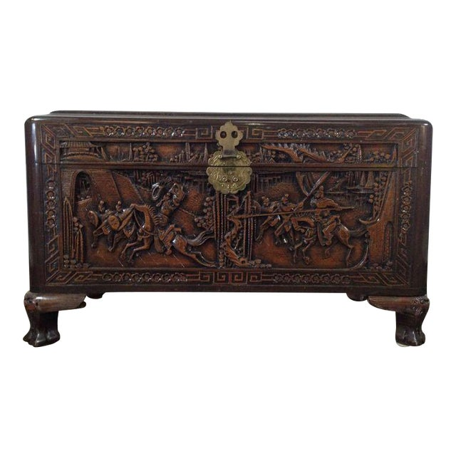 Chinese Carved Teak & Camphor Wood Chest - Image 1 of 11
