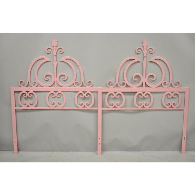 Mid 20th Century Vintage Italian Gothic Iron Hollywood Regency Twin or King Bed Headboard - a Pair For Sale - Image 10 of 13
