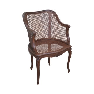 French Louis XV Style Cane Bergere Arm Chair