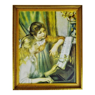Vintage Framed Victorian Style Print of Girls Playing Piano For Sale