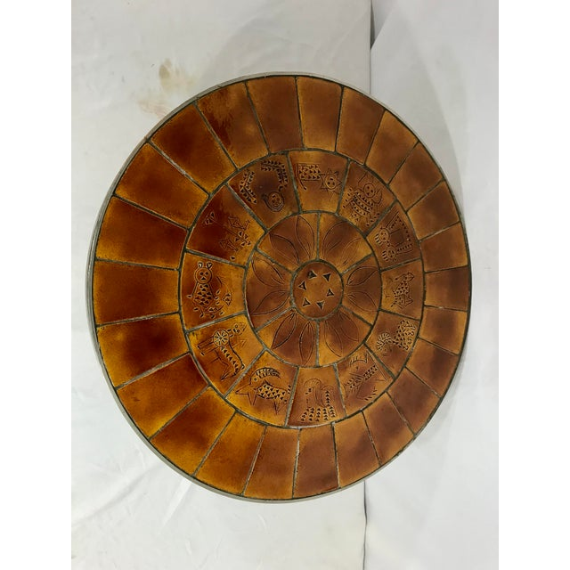1960s Mid Century French Steel and Ceramic Coffee Table For Sale - Image 5 of 7