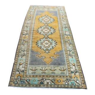 Handknotted Turkish Area Carpet - 3′5″ × 8′10″