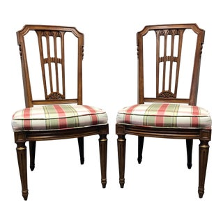 Henredon Capri Mid Century Italian Provincial Neoclassical Dining Side Chairs - Pair For Sale