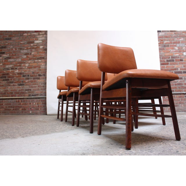 Glenn of California Set of Ten Walnut and Leather Dining Chairs by Greta Grossman For Sale - Image 4 of 13