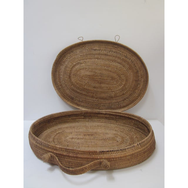 Large Oversized Vintage Oval Lidded Woven Storage Basket - Image 6 of 8