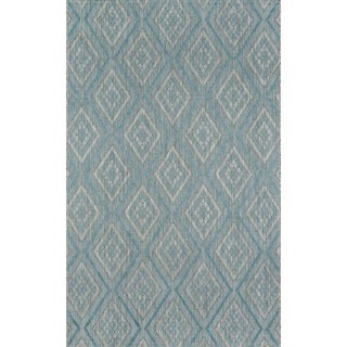 "Madcap Cottage Lake Palace Rajastan Weekend Light Blue Indoor/Outdoor Area Rug 3'3"" X 5' For Sale"