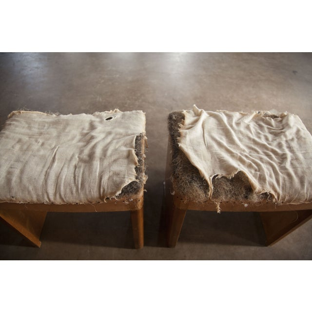 Distressed Vintage Wooden Stools - A Pair For Sale - Image 5 of 5