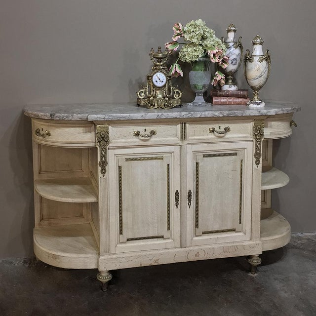 Early 19th Century 19th Century French Louis XVI Marble Top Stripped Oak Buffet With Ormolu Bronze For Sale - Image 5 of 12