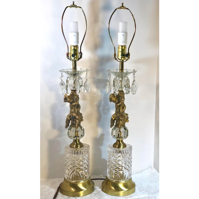 Vintage Baroque Rococo Brass Putti Lamps with Crystals on Marble Hollywood Glam - a Pair For Sale - Image 13 of 13