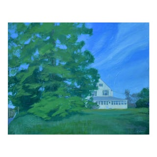 House and a Large Tree Painting by Stephen Remick For Sale
