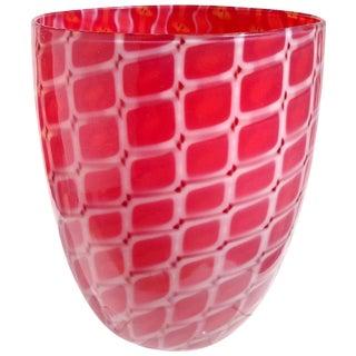 Archimede Seguso Murano 1952 Red White Opal Italian Art Glass Mid Century Flower Vase For Sale