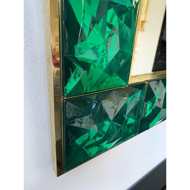 Contemporary Brass Mirror Console with Green Murano Glass, Italy For Sale - Image 10 of 13