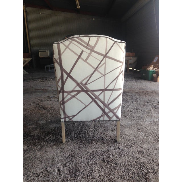 Vintage Wingback Chair in Abstract Lines Upholstery For Sale - Image 5 of 5