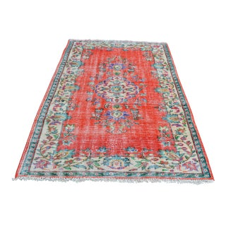 Modern Turkish Oushak Handwoven Boro Orange Wool Floral Rug