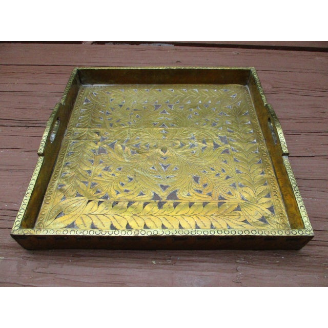 Antique Ornate Hammered Brass Wood Serving Tray - Image 2 of 11