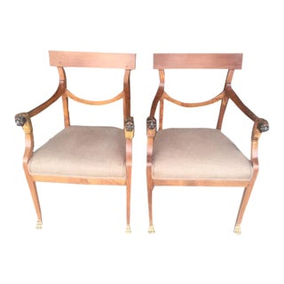 19th Century Italian Neo-Classic Arm Chairs With Lion & Paw Feet - A Pair For Sale