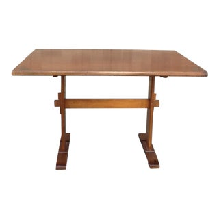 Vintage Traditional Maple Stenciled Hitchcock Trestle Table For Sale