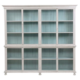 Large Painted Two-Piece Display Cabinet For Sale