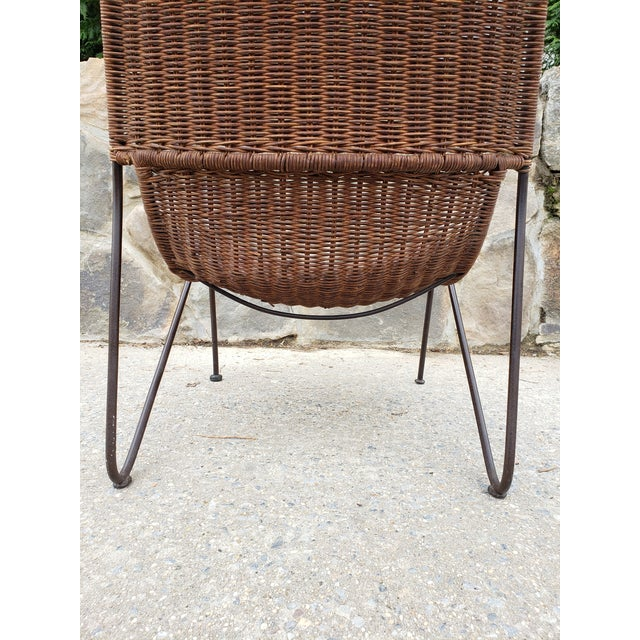 Mid Century Frederic Weinberg Wrought Iron & Rattan Lounge Chair For Sale - Image 9 of 13