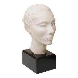 Plaster of Paris Italian Head Bust on Black Wood Base Sculpture 1960's For Sale
