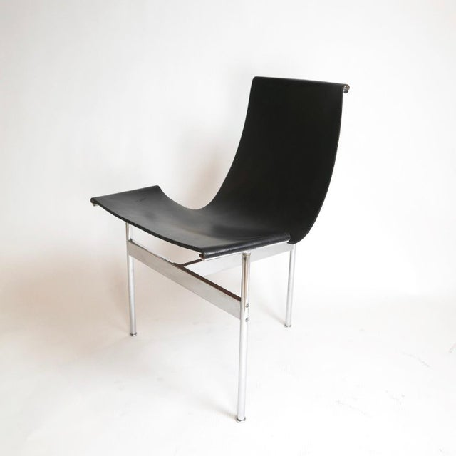"""Douglas Kelly, Ross Littell and William Katavolos Set of 6 1952 Katavolos Kelley & Littell for Laverne """"T"""" Chairs in Black Leather For Sale - Image 4 of 13"""