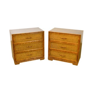 American of Martinsville Faux Bamboo & Wicker Chests - A Pair