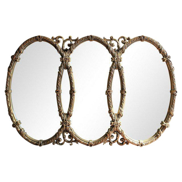 French Triple Oval Gold Mirror-Vintage - Image 1 of 4