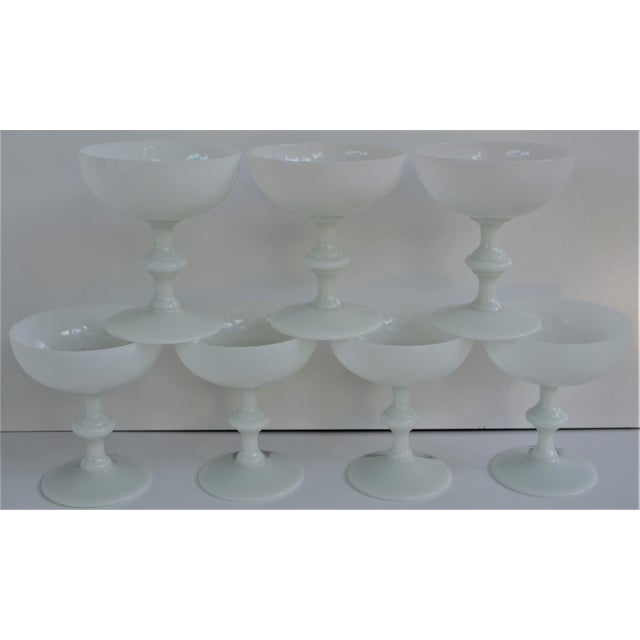 Glass 1970s Portieux Vallerysthal French Ivory Opaline Champagne Coupes - Set of 7 For Sale - Image 7 of 9