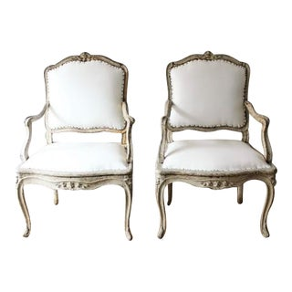 """18th C Louis XV Armchairs, Signed """"Blanchard"""" Pair"""