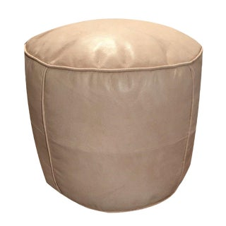 Tabouret Pouf, by Mpw Plaza, Natural Tone (Stuffed) Moroccan Leather Pouf Ottoman For Sale