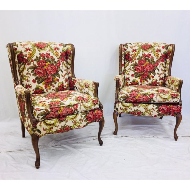 Fabulous Pair Vintage Petite Wingback Arm Chairs with original Floral Chintz Fabric (linen blend). Beautiful solid wood...