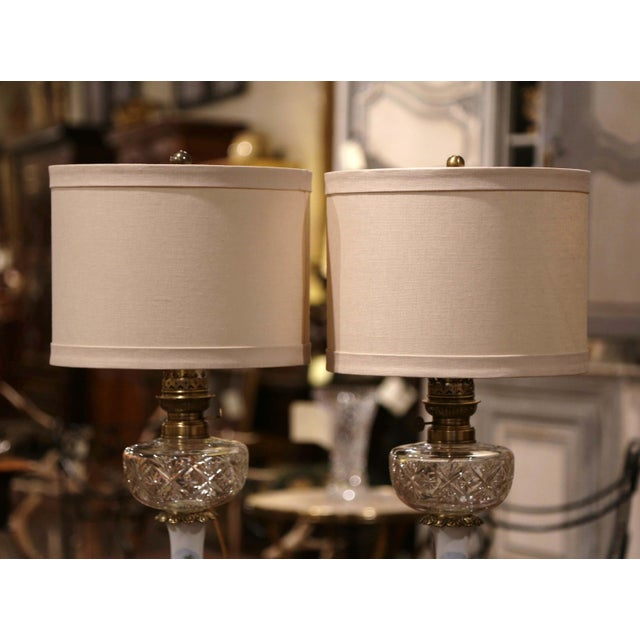 Pair of 19th Century French Porcelain, Bronze, Brass and Cut Glass Table Lamps For Sale In Dallas - Image 6 of 12