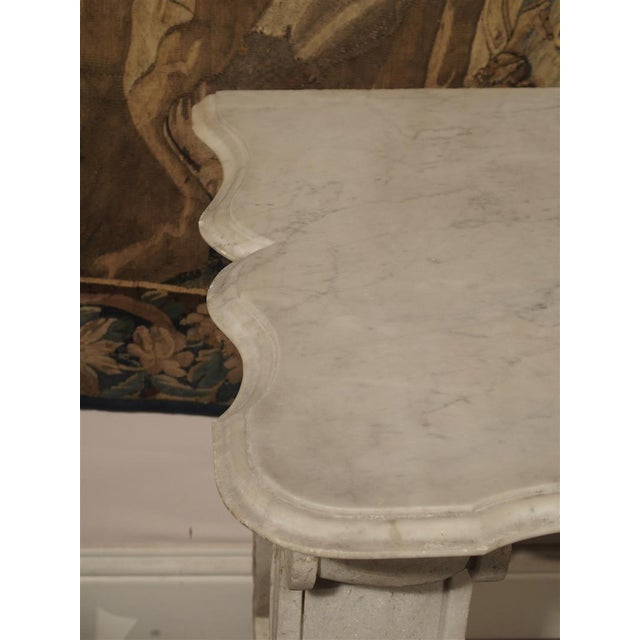 Late 19th Century Antique Carved White Marble Console Table from France, 19th Century For Sale - Image 5 of 13