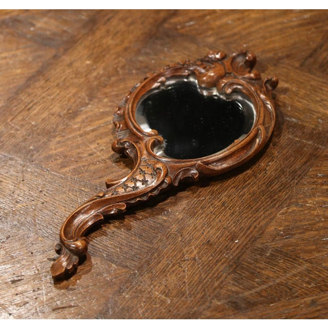 Brown 19th Century French Black Forest Carved Walnut Hand Mirror With Beveled Glass For Sale - Image 8 of 8