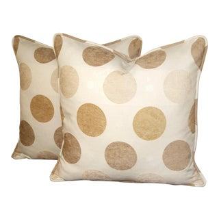 "Set Accent Pillows 20"" X 20"" Cotton Chenille Polka Dot - Two Piece Set"
