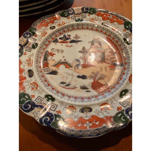 Burnt Orange Antique Mason's Ironstone Chinoiserie Luncheon or Dinner Plates — Set of 6 For Sale - Image 8 of 11