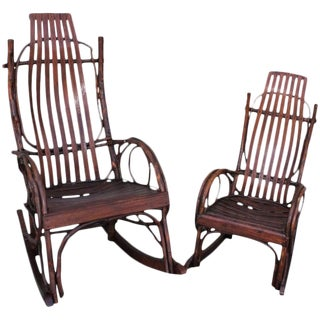 Amish Bent Wood Rocking Chairs, Adults and Child's, 2 For Sale