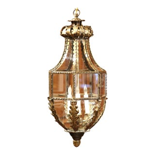 Elegant 19th Century French Four-Light Repousse Brass Lantern