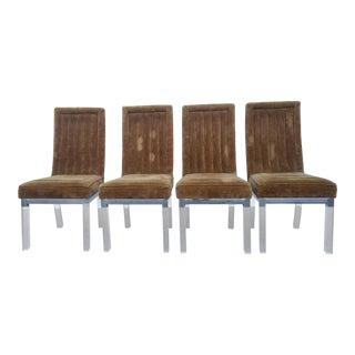 1970s Vintage Charles Hollis Jones Lucite and Nickel Chrome Base Dining Chairs- Set of 4 For Sale
