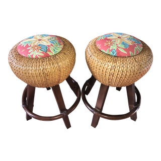 Palecek Woven Seagrass Counter Stools - A Pair