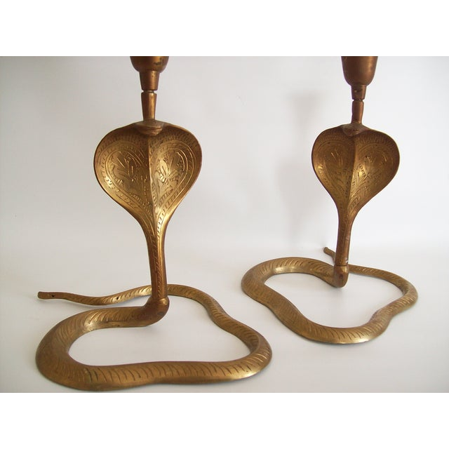 Vintage Brass Cobra Snake Candlesticks - A Pair - Image 3 of 9