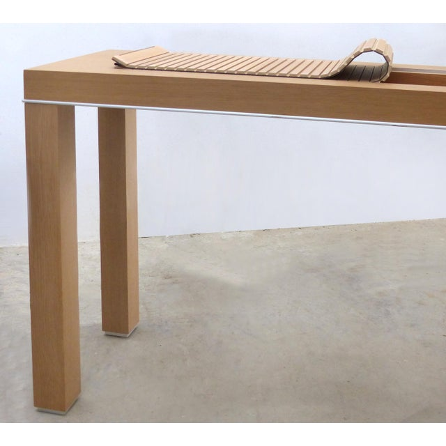 Metal Mobilidea Console With Rolling Tambour Blind on Top, Italy For Sale - Image 7 of 11