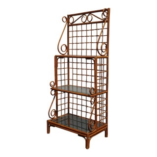 Vintage Mid Century Modern Bamboo Rattan Bookcase ~ Etagere French Country For Sale