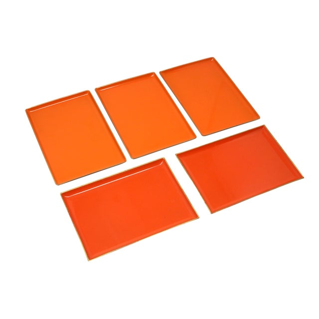 Vintage Orange Lacquered Trays - Set of 5 For Sale
