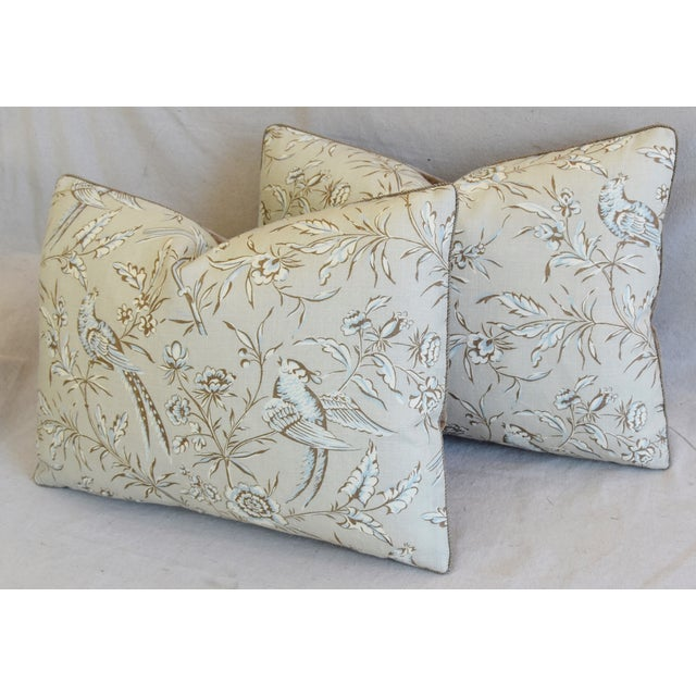 """Blue Scalamandre Aviary & Velvet Feather/Down Pillows 22"""" X 16"""" - Pair For Sale - Image 8 of 13"""