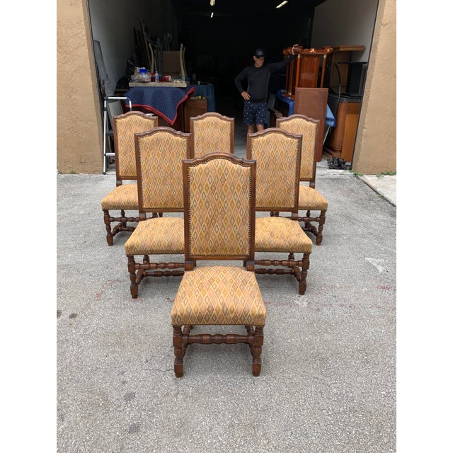 French 1900s French Louis XIII Style Solid Walnut Dining Chairs - Set of 6 For Sale - Image 3 of 13