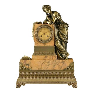 Mid-19th Century Bronze Mounted Siena Marble Mantle Clock For Sale